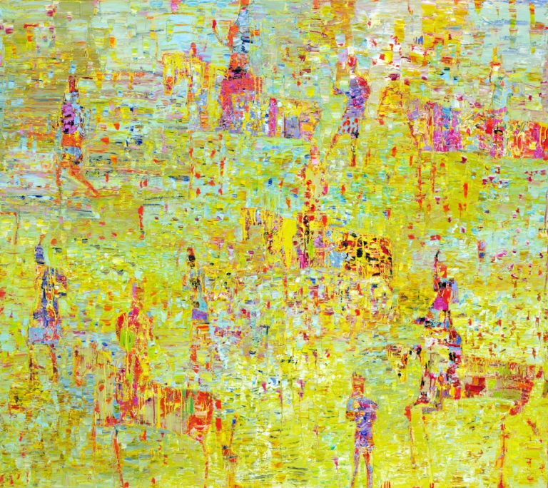 Reza Derakshani, Hunting the Sunshine, 2015, oil on canvas, 198 x 224 cm, courtesy of the artist and Sophia Contemporary